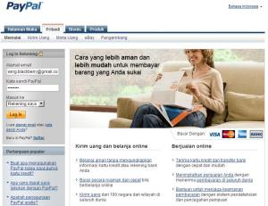 Tampilan situs PayPal Indonesia