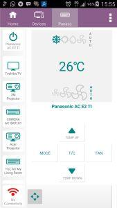 Tampilan remote control AC